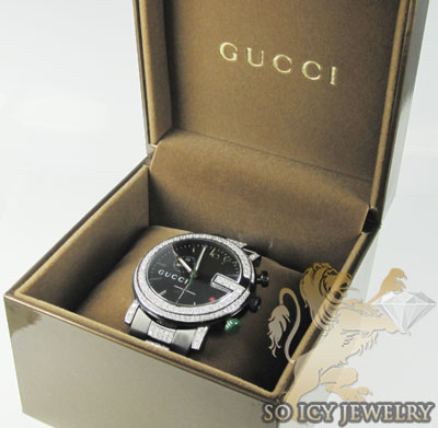 Mens diamond full case igucci digital watch 5.00ct