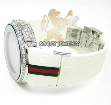 Mens diamond white igucci digital watch 6.50ct