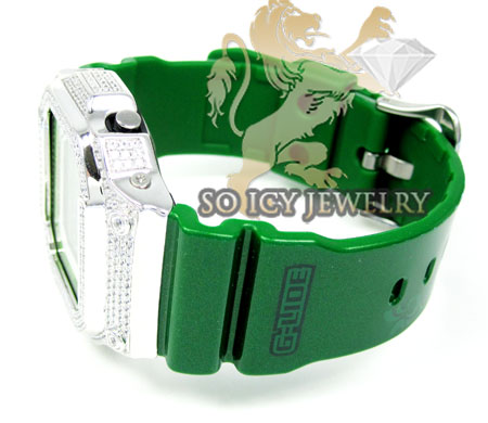 Mens cz g-lide green g-shock watch 4.00ct