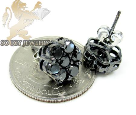 14k black gold black diamond cluster earrings 3.00ct