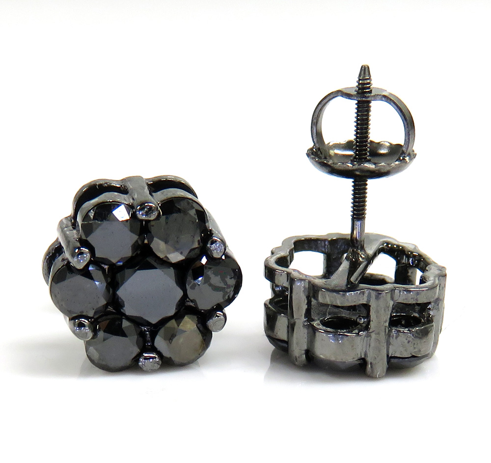 14k black gold black diamond cluster earrings 1.75ct