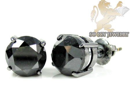 14k black gold black diamond studs 6.00ct