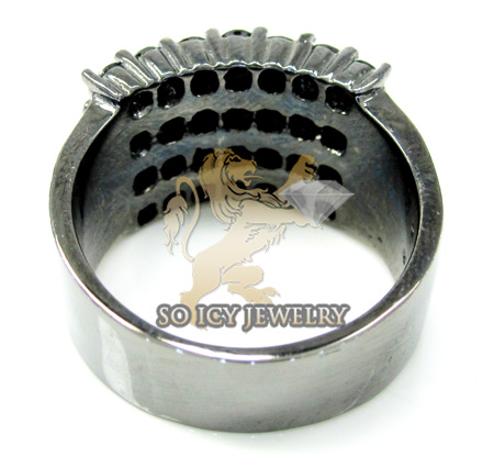 Mens 14k black gold black diamond cluster ring 4.00ct