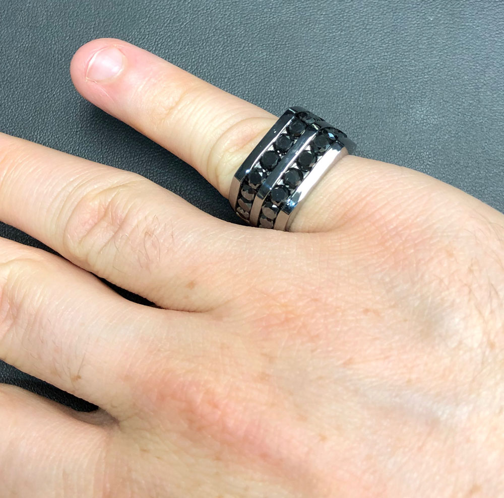 Mens 14k black gold black diamond pinky ring 7.00ct