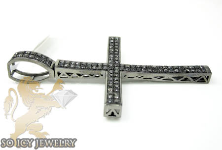 10k black gold black diamond pave cross 3.00ct