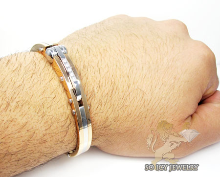 Rose two tone stainless steel cz handcuff bracelet