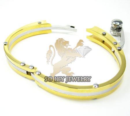 Two tone stainless steel cz handcuff bracelet