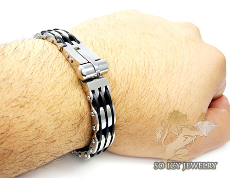 White stainless steel rubber link handcuff bracelet