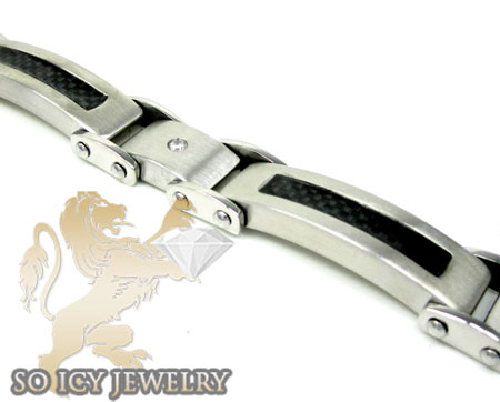White stainless steel black carbon fiber link bracelet