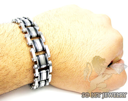 White stainless steel multi-link design black enamel bracelet