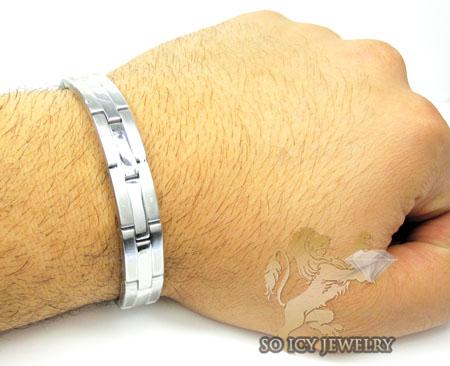 White stainless steel multi-link  bracelet