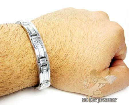 White stainless steel box link cz bracelet