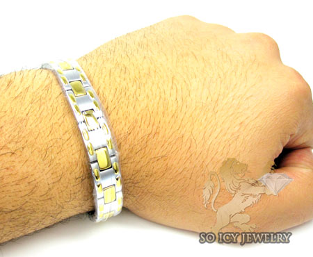 Two tone stainless steel box link bracelet