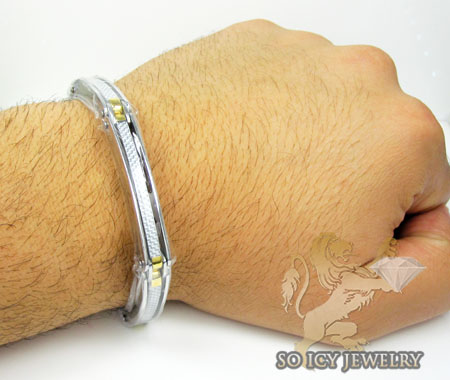 Two tone stainless steel white carbon fiber link bracelet
