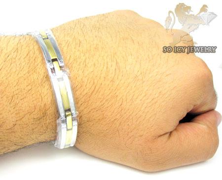 Two tone stainless steel screw link bracelet