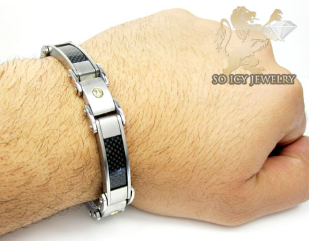 Two tone stainless steel black carbon fiber screw link bracelet