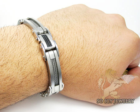 White stainless steel black carbon fiber cable link bracelet