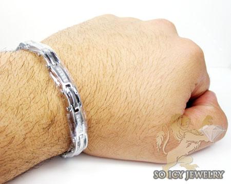 White stainless steel cz fashion bracelet