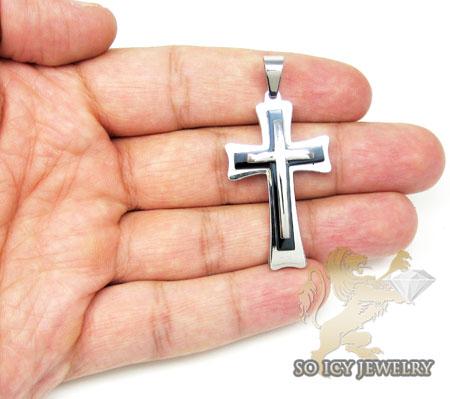 White stainless steel triple layered black enamel cross pendant