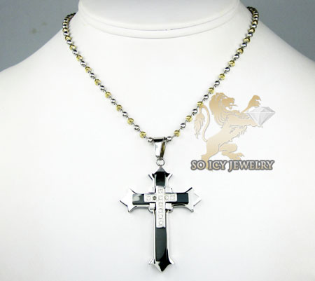 White stainless steel triple layered black enamel cz cross pendant