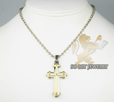 Two tone stainless steel double layered cross pendant