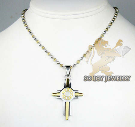 Two tone stainless steel cz fashion cross pendant