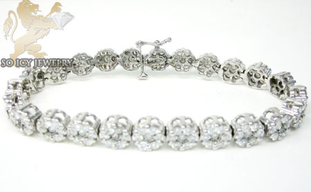 Ladies 14k white gold round diamond flower bracelet 7.00ct