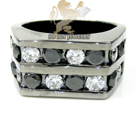 14k black gold white & black diamond 2 row fashion mens ring 3.50ct