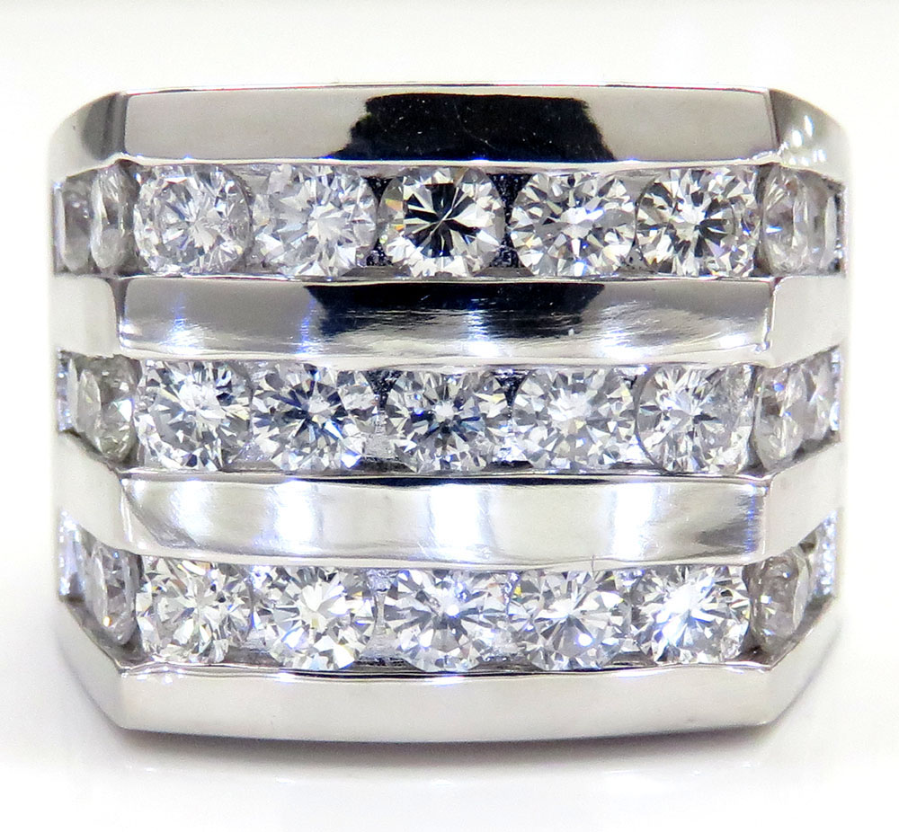 14k white gold 3 row diamond fashion mens ring 3.85ct