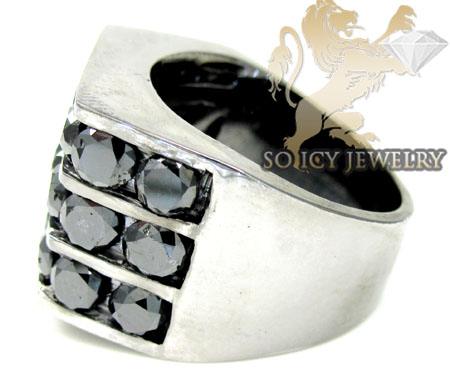 14k black gold 3 row black diamond fashion mens ring 6.00ct