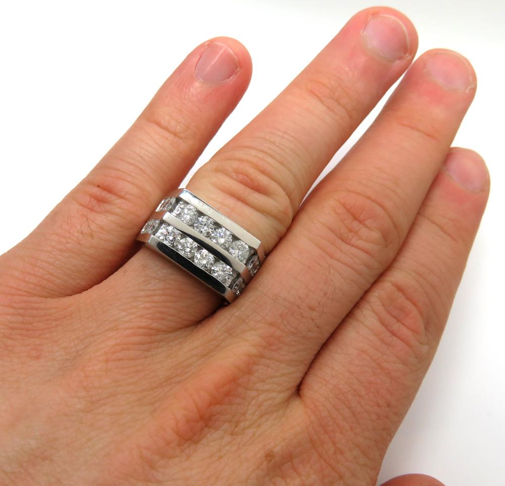14k white gold 2 row diamond wedding band ring 2.50ct