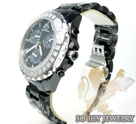 Ladies techno master diamond black ceramic watch 0.90ct