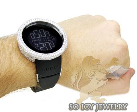 Mens diamond igucci digital full case big bezel watch 12.50ct