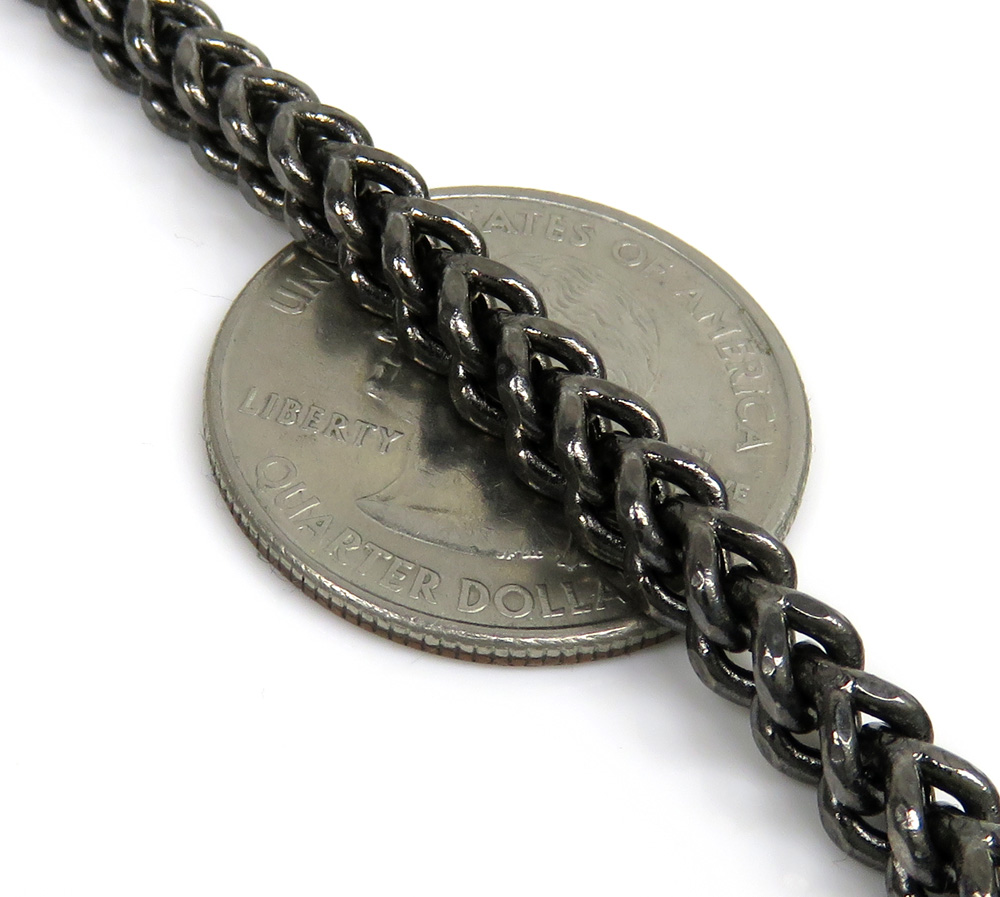 10k black gold franco link chain 30 inch 4.3mm