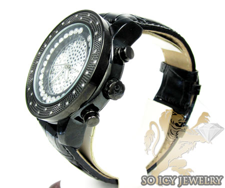 0.30ct mens techno com by kc black genuine diamond watch