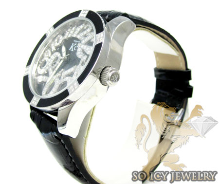 Techno com kc diamond black enamel white stainless steel watch 0.50ct