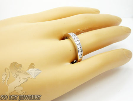 Unisex 14k white gold round diamond wedding band 0.50ct