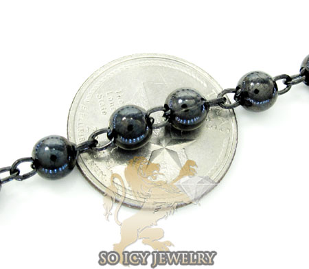 925 black silver rosary italy necklace 30 inches 6mm