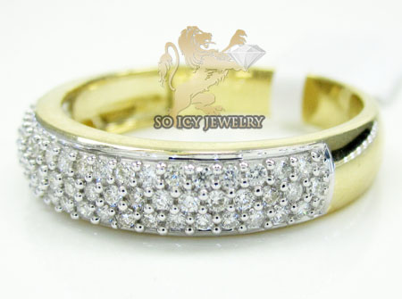 Mens 14k yellow gold round diamond wedding band 1.00ct