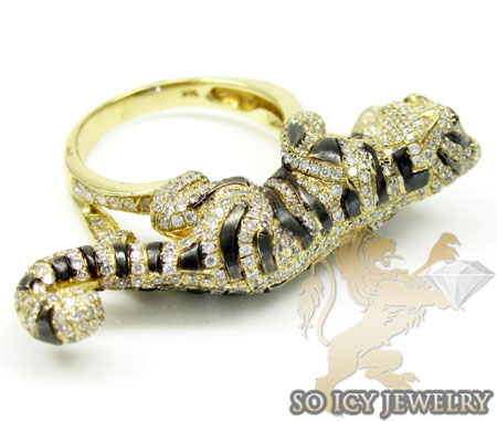 Ladies 14k yellow gold diamond black rhodium tiger ring 2.00ct