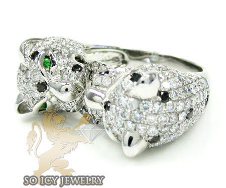 Ladies 14k white gold black diamond double headed panther ring 3.60ct