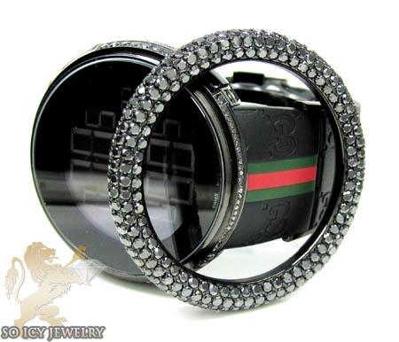 Mens black diamond igucci digital full case big bezel watch 13.00ct