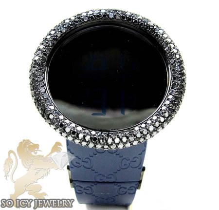 Mens black diamond igucci digital big bezel watch 11.00ct