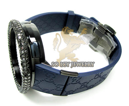 Mens black diamond igucci digital big bezel watch 11.00ct