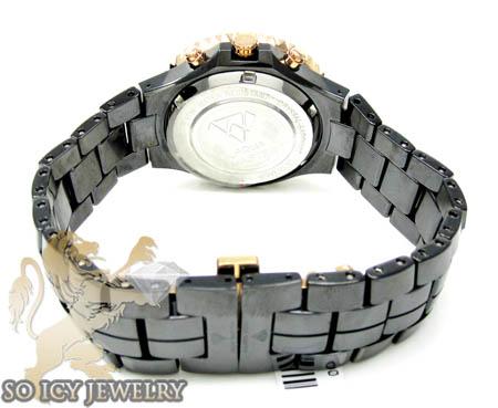 1.25ct ladies aqua master diamond watch rose & black ceramic