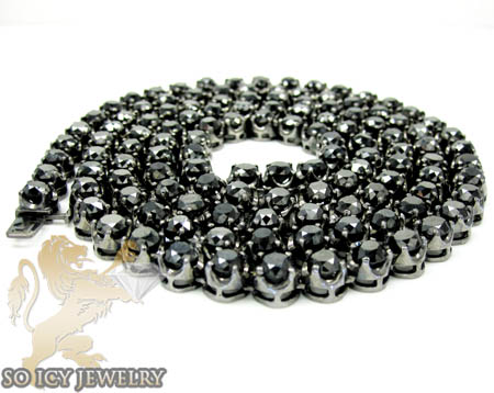 Mens 10k black gold round black diamond tennis link chain 64.00ct