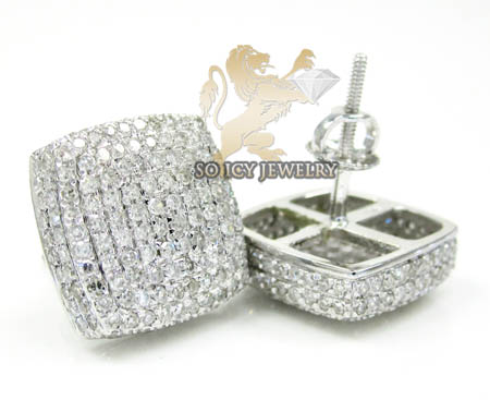 10k white gold round diamond 3d ice cube earrings 1.45ct