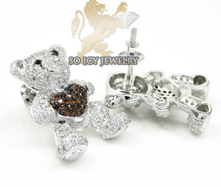 Ladies 10k white gold diamond heart teddy bear earrings 0.80ct