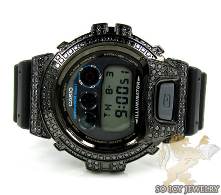 Mens black cz dw-6900 black g-shock watch 3.00ct