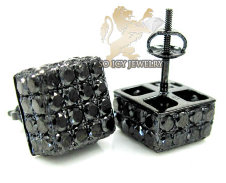 10k black gold round diamond 3d ice cube earrings 4.12ct